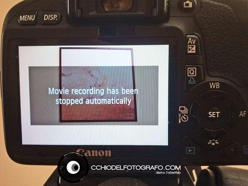 Messaggio che compare sulle macchine Canon quando il filmato si è arrestato automaticamente.