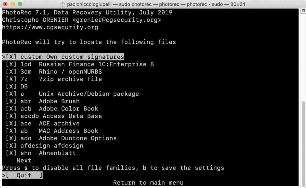 Recuperare foto cancellate con PhotoRec - Selezione formato file da recuperare