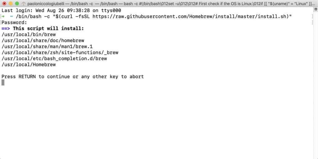 Installare Homebrew su Mac - Terminale