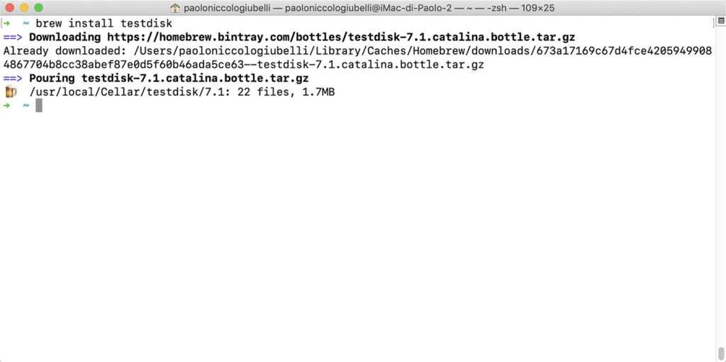 Installare PhotoRec su Mac con Homebrew