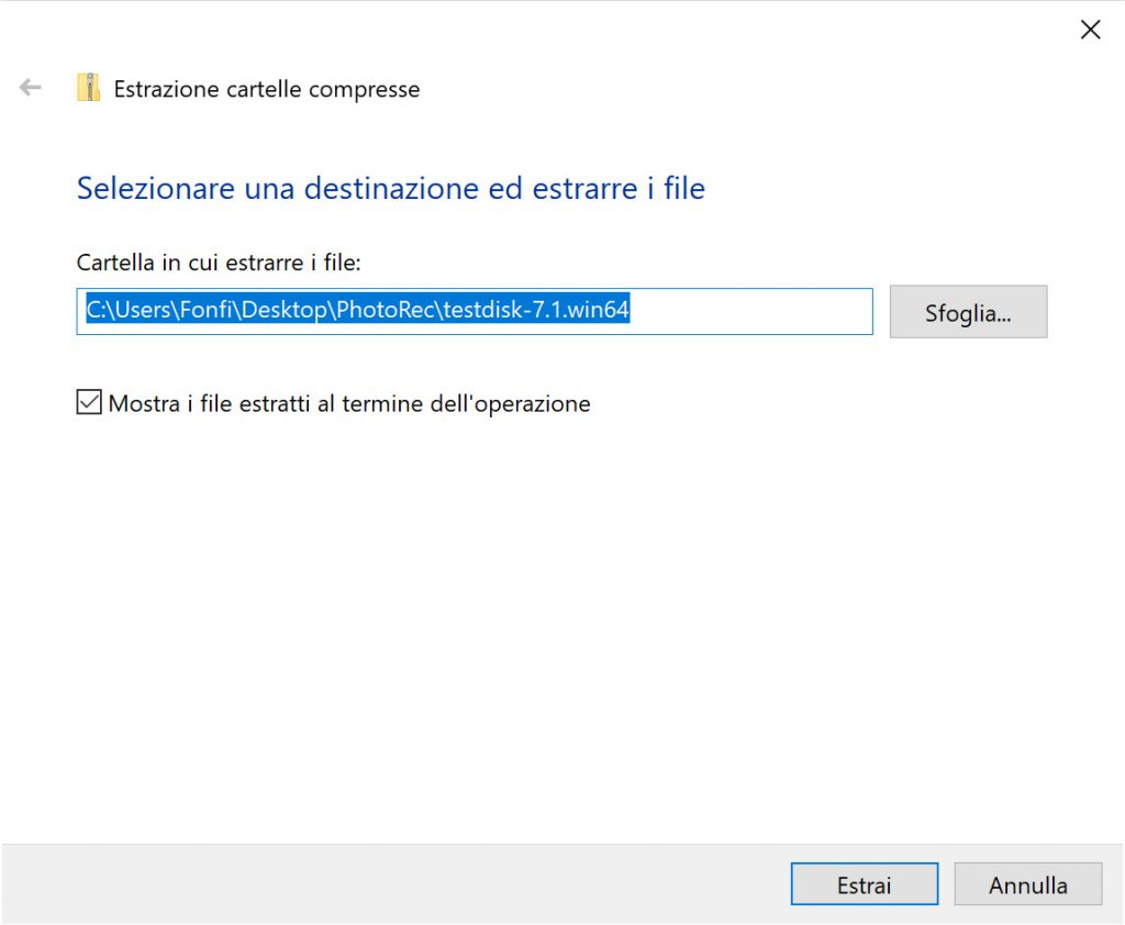Finestra per l'estrazione delle cartelle compresse in Windows