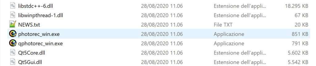 """Il file da lanciare per avviare PhotoRec è """"photorec_win.exe"""""""